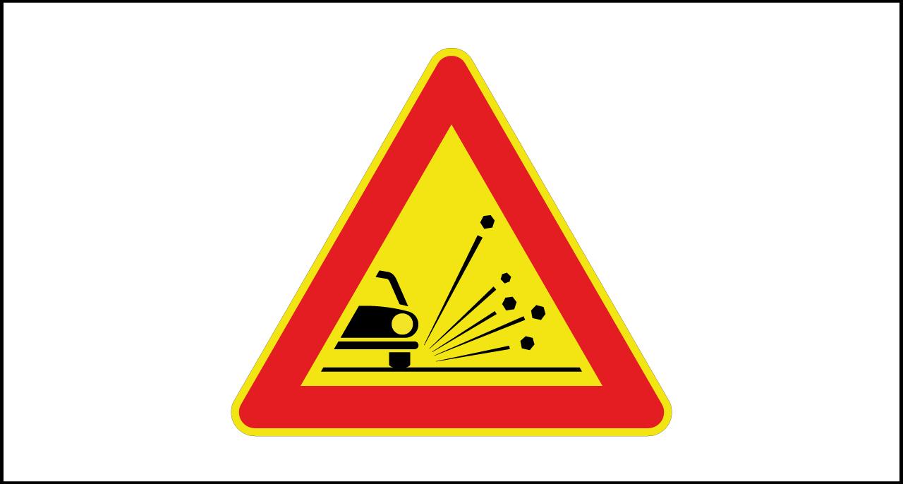 Fig. II 390 Art.31 – Materiale instabile sulla strada