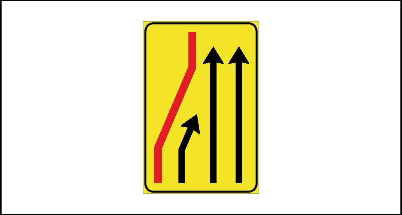 Fig. II 411/b Art.43 – Segnale di corsia chiusa (sinistra)