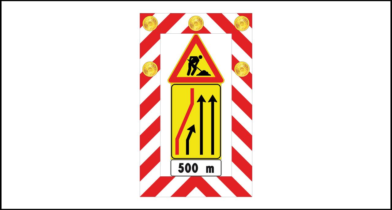 Fig. II 400 Art.39 – Segnale mobile di preavviso (possibilità di integrare ottiche luminose)
